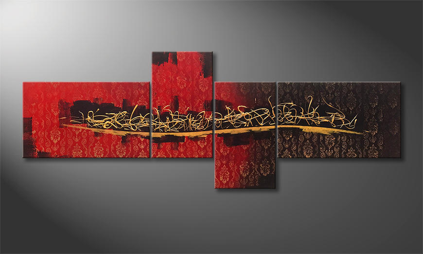 Woonkamer schilderij Golden Words 240x90x2cm