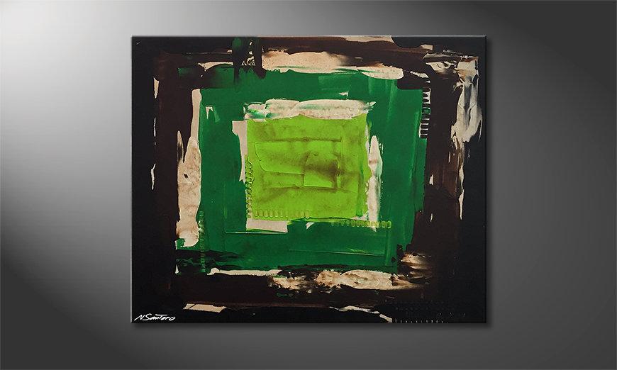 Woonkamer schilderij Green Eye 100x80x2cm