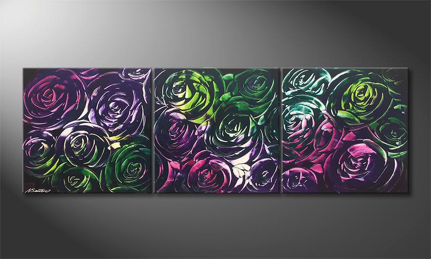 Woonkamer schilderij Night Of Roses 180x60x2cm