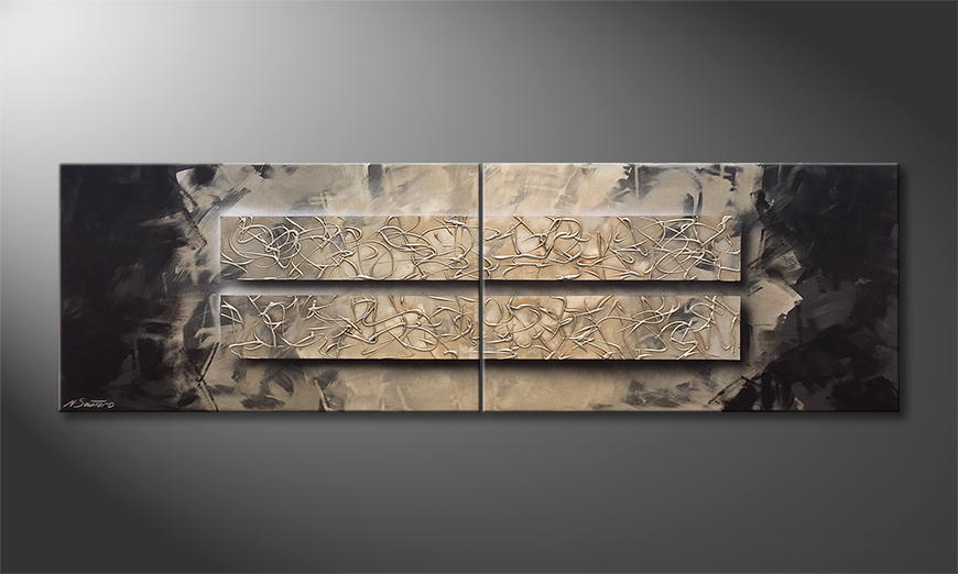 Woonkamer schilderij Pulsating Silver 200x60x2cm