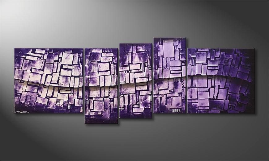 Woonkamer schilderij Purple Stones 210x80x2cm
