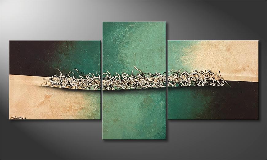 Woonkamer schilderij Silver Crowd 190x90x2cm