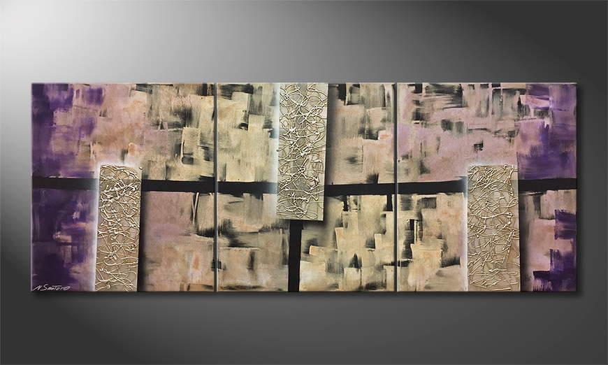 Woonkamer schilderij Silver Pillars 180x70x2cm