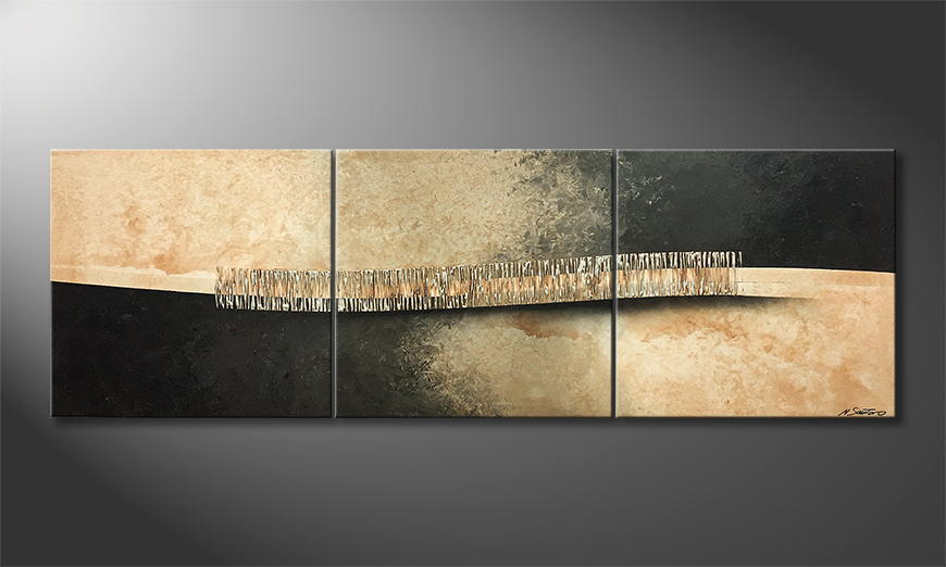 Woonkamer schilderij Silver Stairs 210x70x2cm