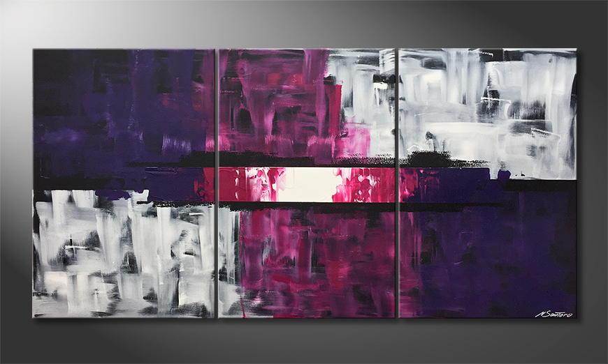 Woonkamer schilderij White Flames 180x90x2cm